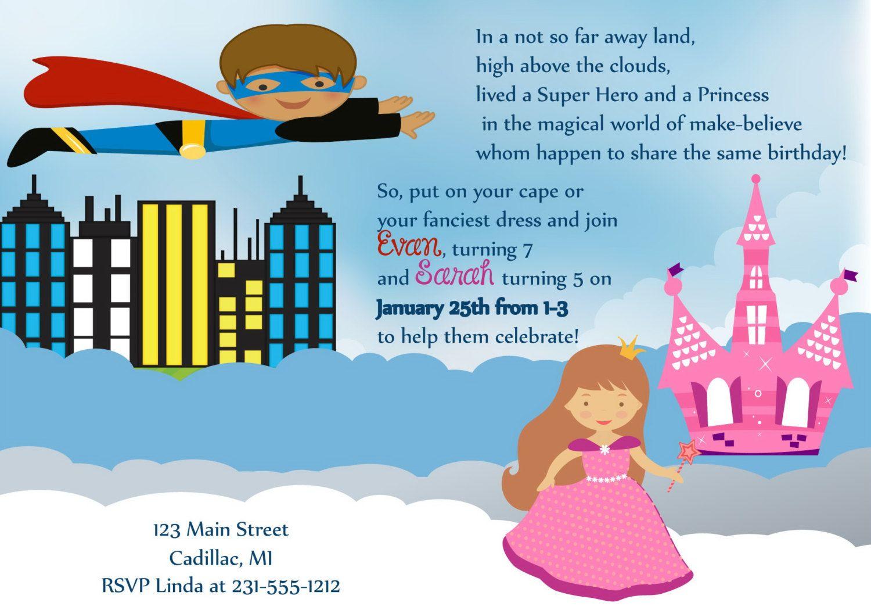 super hero princess birthday invitation by fabpartyprints