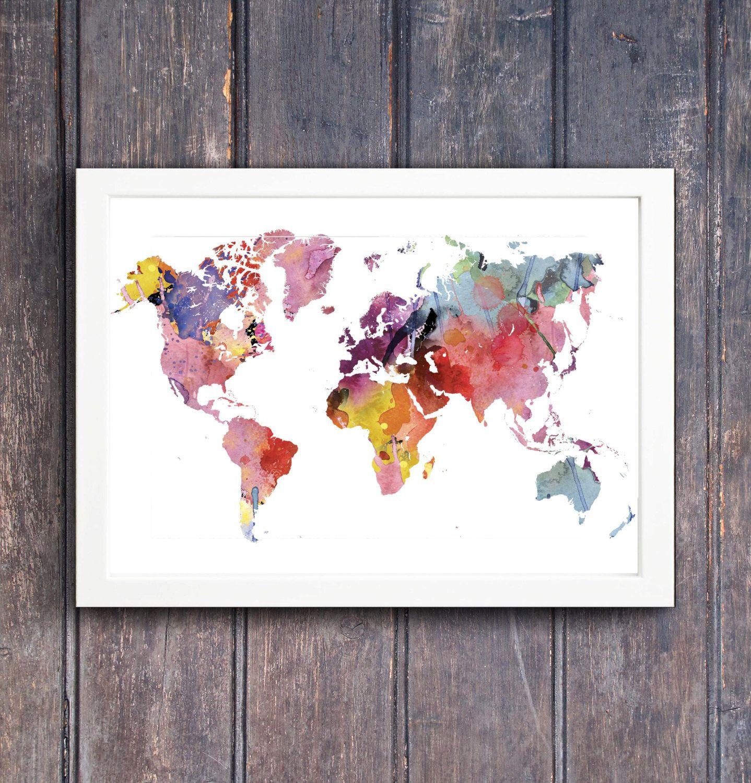 Rainbow watercolor world map printable wall art printable