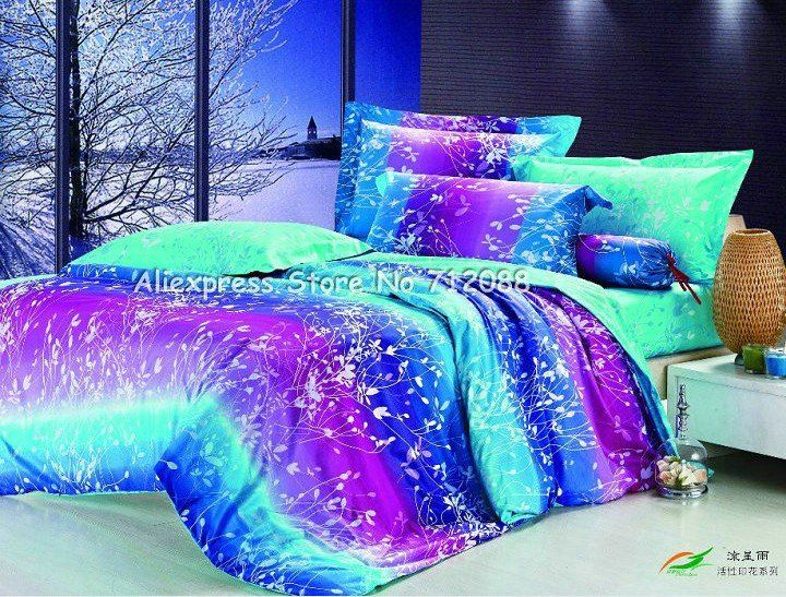 4 Pcs Duvet Quilt Covers 100 Cotton Leaves Pattern Olive Green Purple Blue Queen Bedding Sets With Sheets Home Textile 59 99