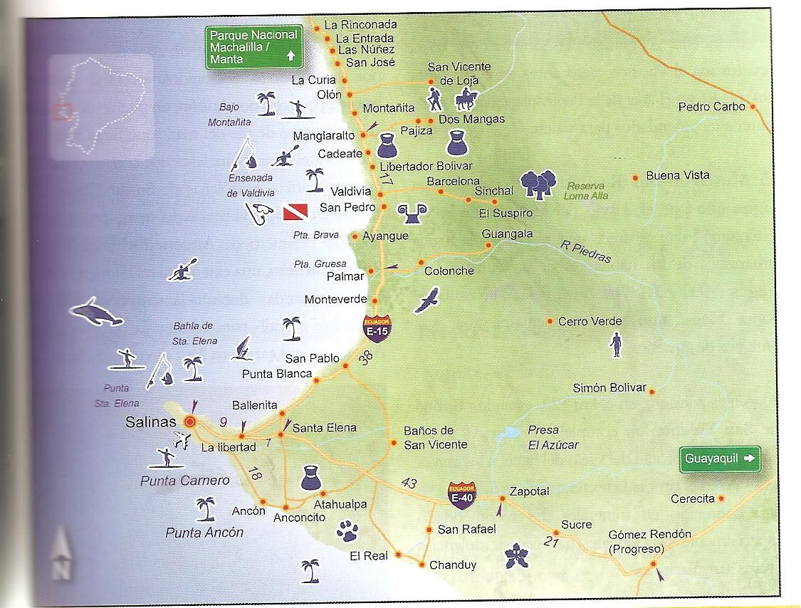 map from guayaquil to vilcabamba Map of South Ecuador Coast