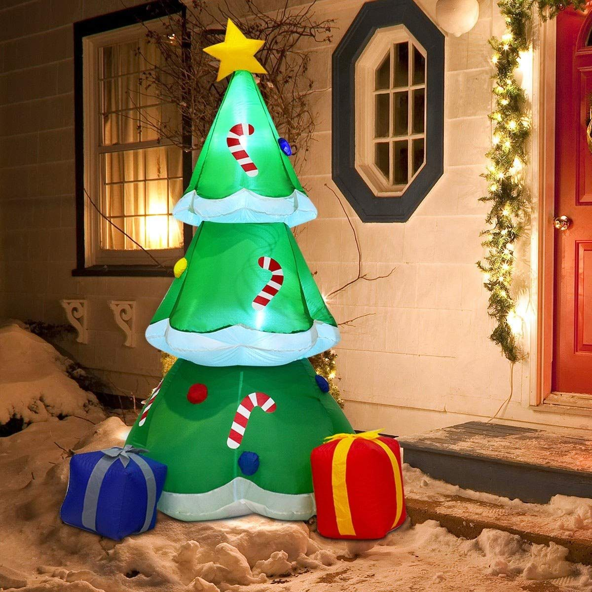 Frolic Racn Oon 6 Foot Tall Christmas Inflatable Tree With Gift Boxes Deco In 2020 Christmas Tree With Gifts Inflatable Christmas Tree Inflatable Christmas Decorations