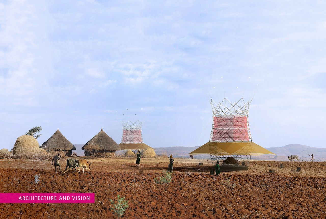 A rendering of how Warka Water towers would fit into the village landscape (image courtesy of Architecture and Vision)