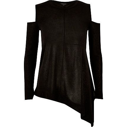 Black knitted asymmetric top £30.00