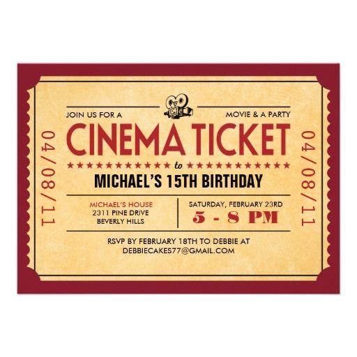 Retro Movie Ticket Invitations Zazzle Com Movie Ticket Invitations Movie Tickets Movie Ticket Birthday Invitations