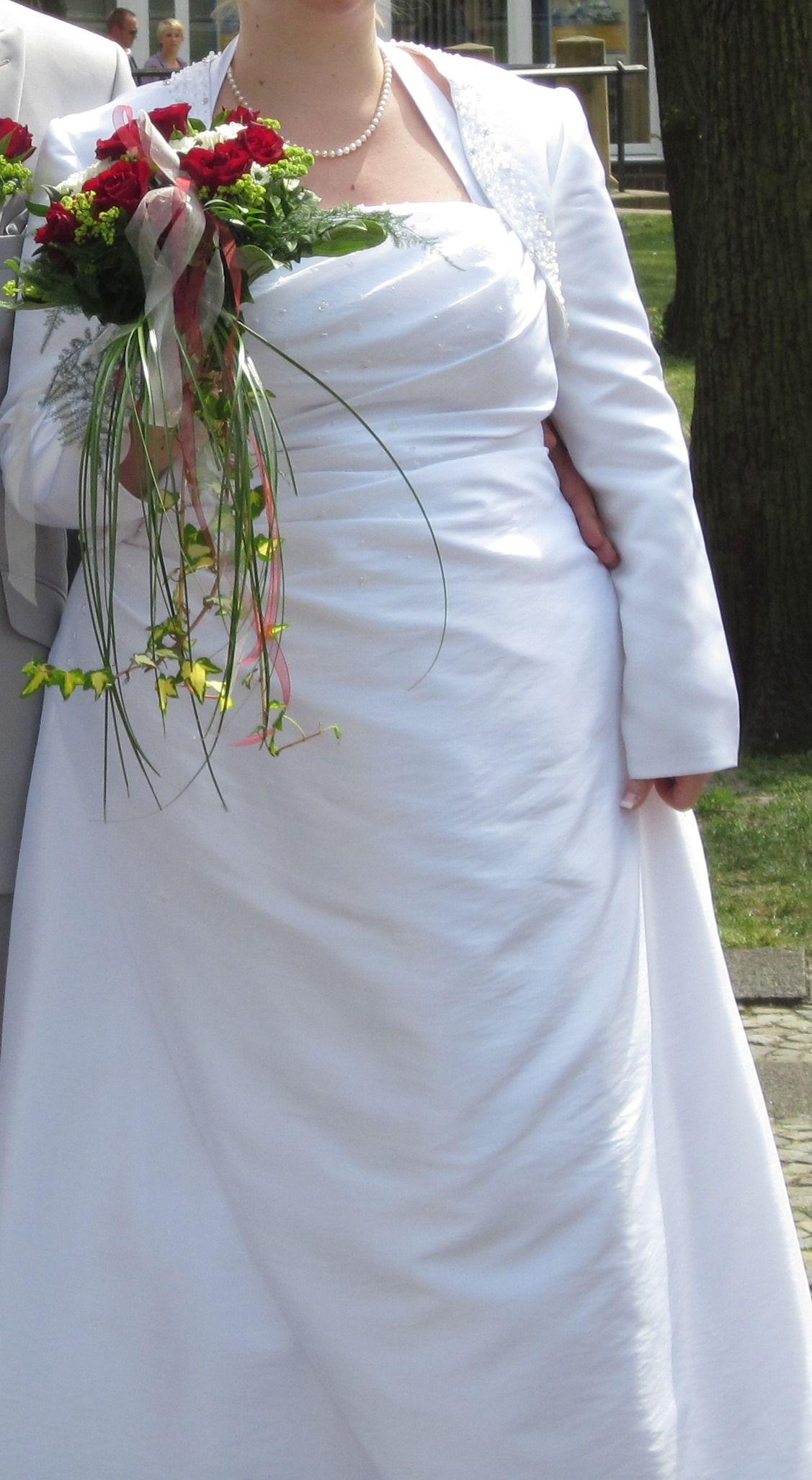 ♥ schönes schlichtes Hochzeitskleid(+Jacke) mit Neckholder und ...