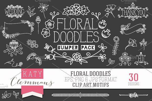 Floral Doodles clip art bumper pack by Katy Clemmans on @creativemarket