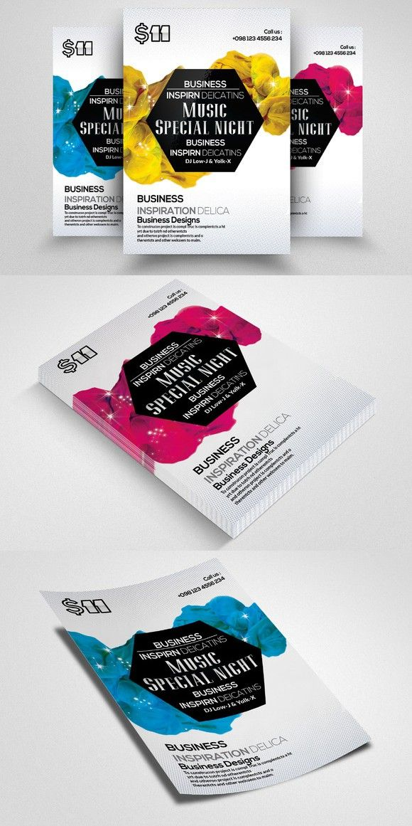 Abstract Electro Flyer Template. Flyer Templates. $6.00 | Flyer ...