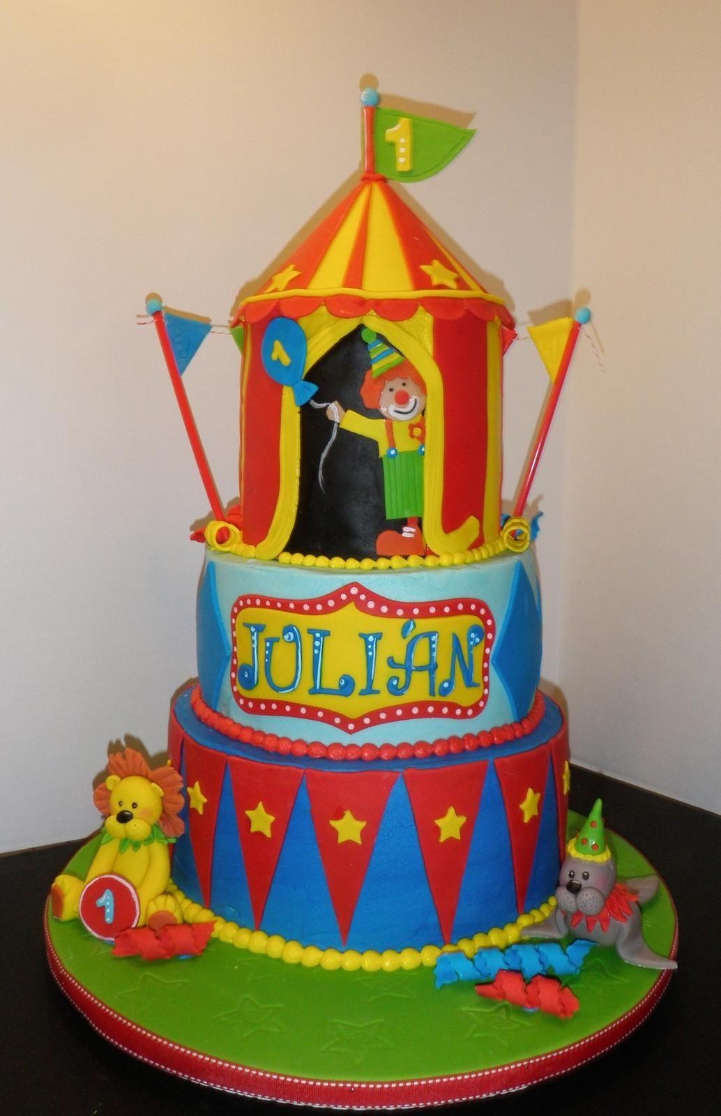 A fun circus themed first birthday cake
