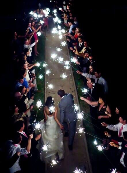 sparkler lit exit after the ceremony/reception, perfect!