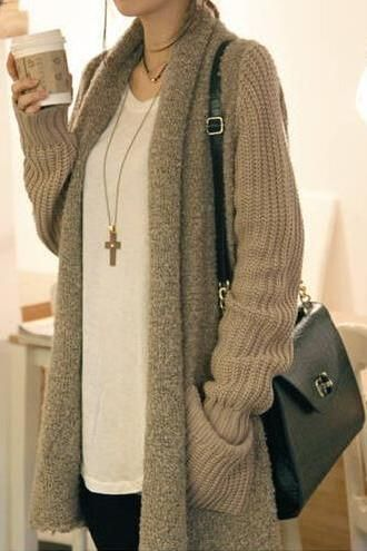 Retro Stitching Sweater Coat
