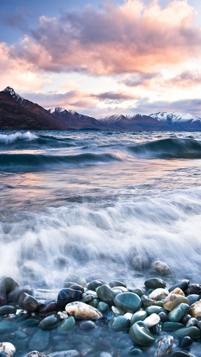 Stones Beach Wave Mountains Clouds #iPhone 5s Wallpaper ...