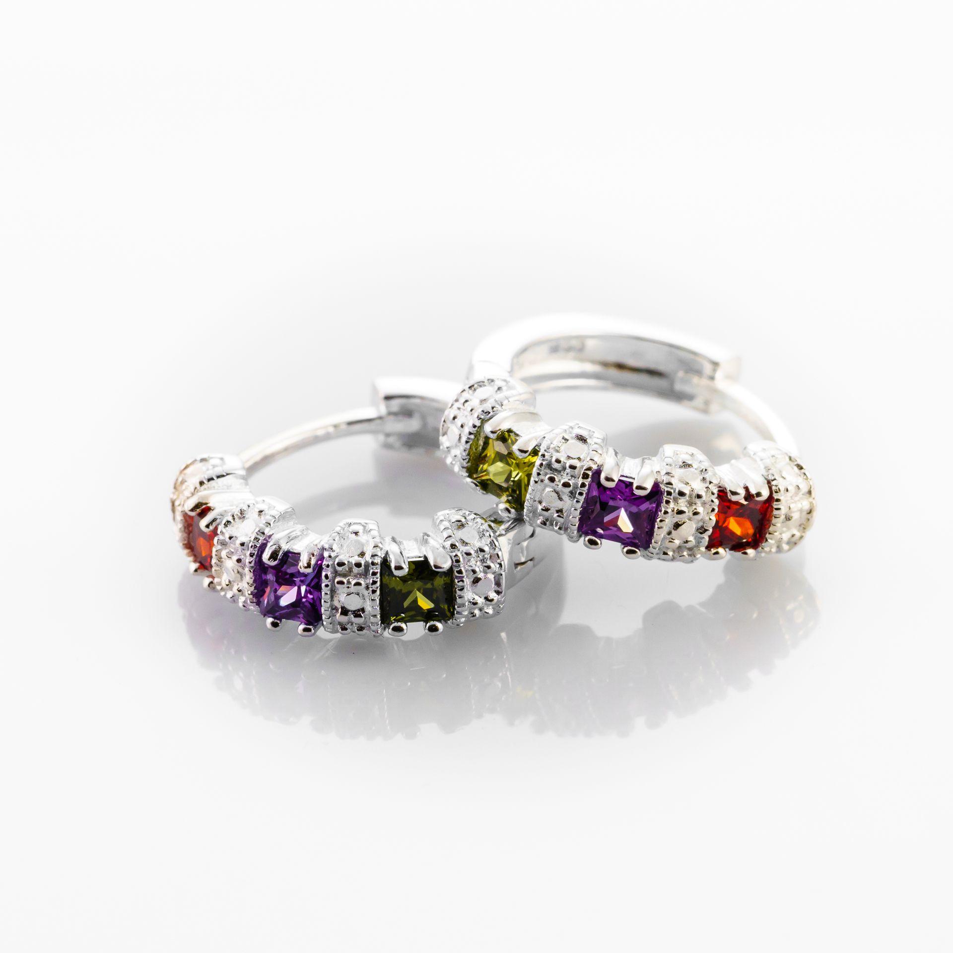 9696c6896536 ARGOLLAS CON PIEDRAS MULTICOLOR  Argollas  Multicolor  piedras cuadradas   Plata  zirconias multicolor