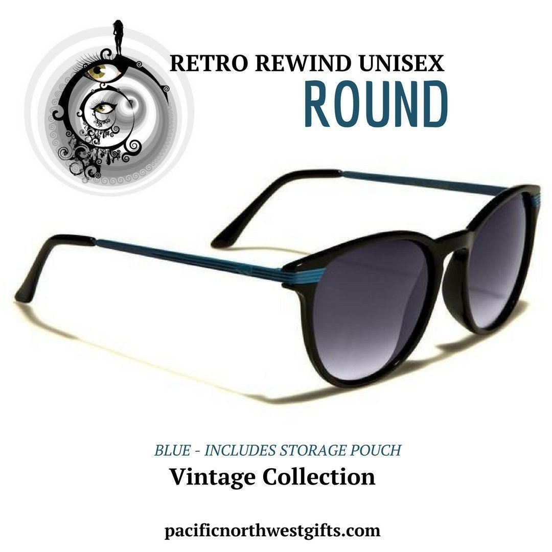 30b3d706a5 These Retro Rewind sunglasses in Blue feature the distinct round Wayfarer  style that has been popular for several decades. Made with both metal and  plastic