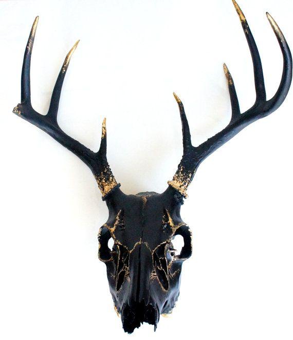 Black Gold Leaf Deer Skull Wall Decor Art Ooak Decor