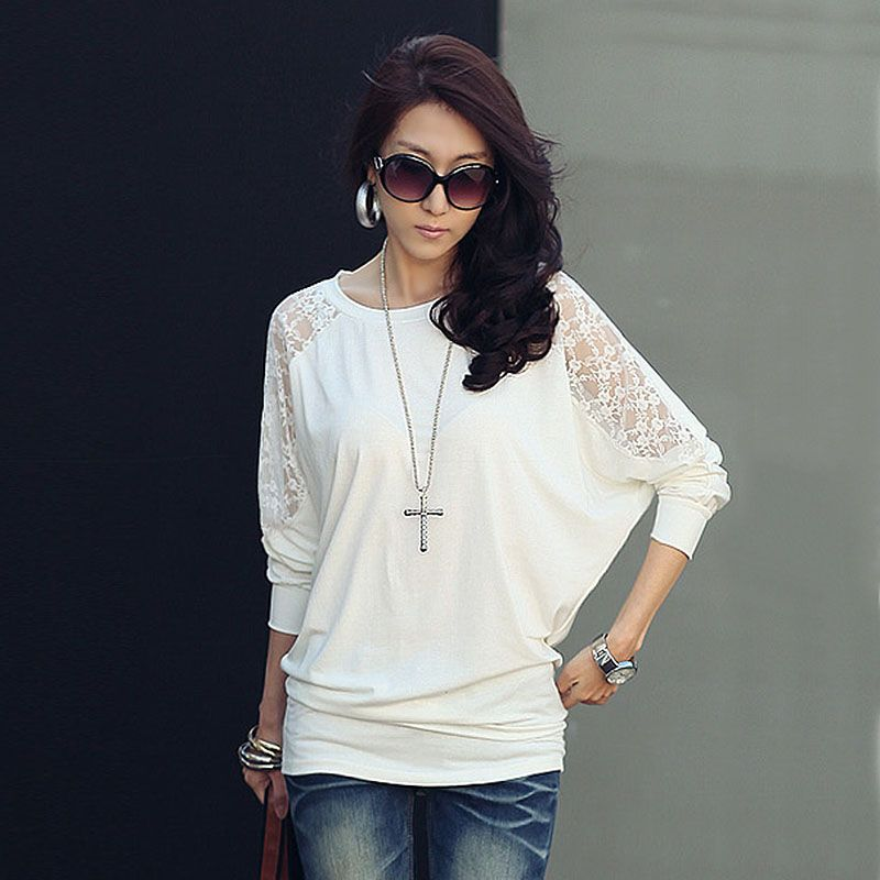 a08104530 White Lace T Shirt Women T-shirt Cotton Poleras De Mujer Moda 2016 Tee  Shirt Femme Casual camisetas mujer women long sleeve tops