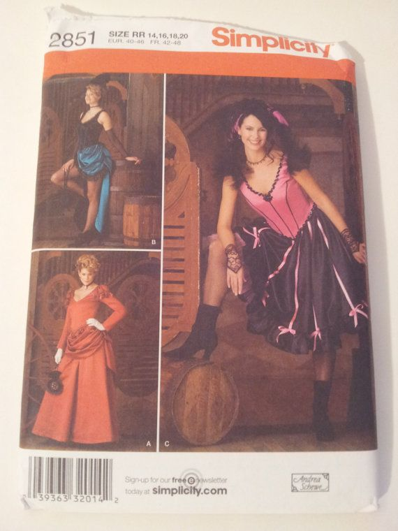 Simplicity Sewing Pattern 2851 Misses\' costumes in size 14, 16, 18, 20