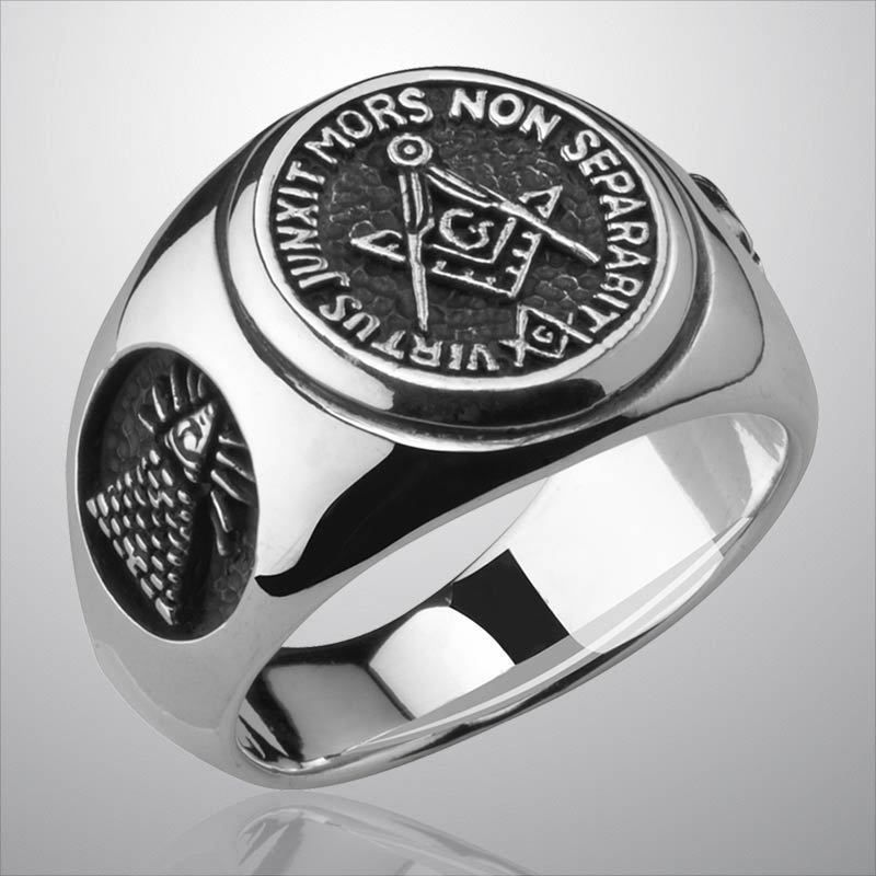 ef846782a378a Details about Mens Masonic Ring Silver 925 Freemason Compass ...