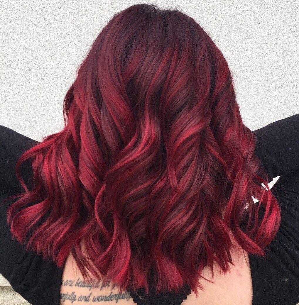 45 Shades of Burgundy Hair: Dark Burgundy, Maroon, Burgundy with Red, Purple and Brown Highlights -   7 hair Red cereza ideas