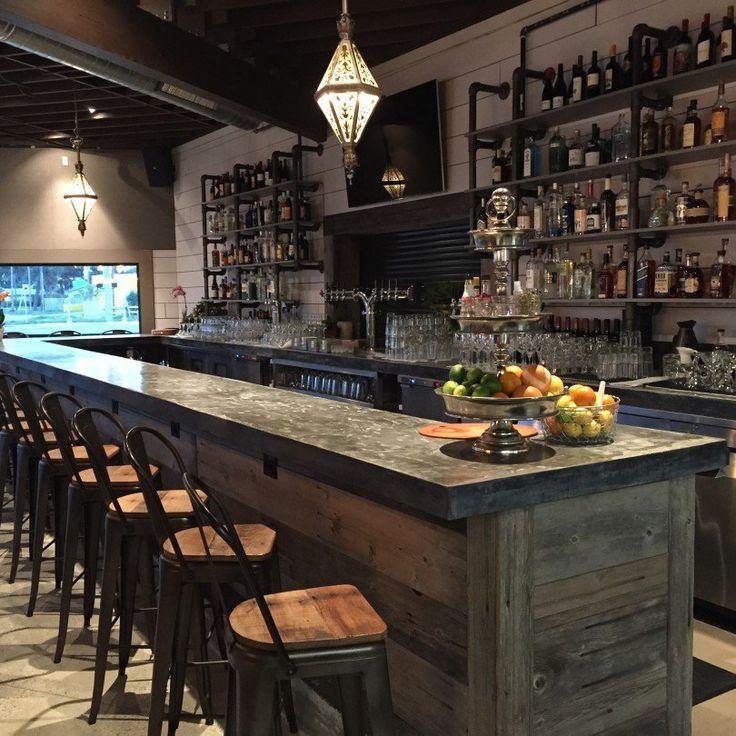 commercial concrete bar top Home bar designs, Bar