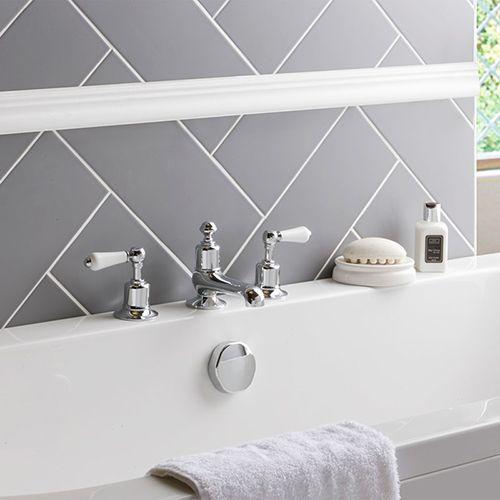 Butler Rose Caledonia Lever 3 Hole Deck Mounted Bath Filler Chrome Bathroom Styling Bath Traditional Bathroom