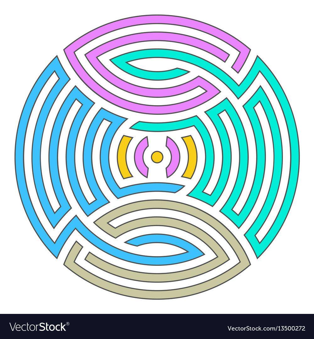 Geometric round ornament vector image on VectorStock