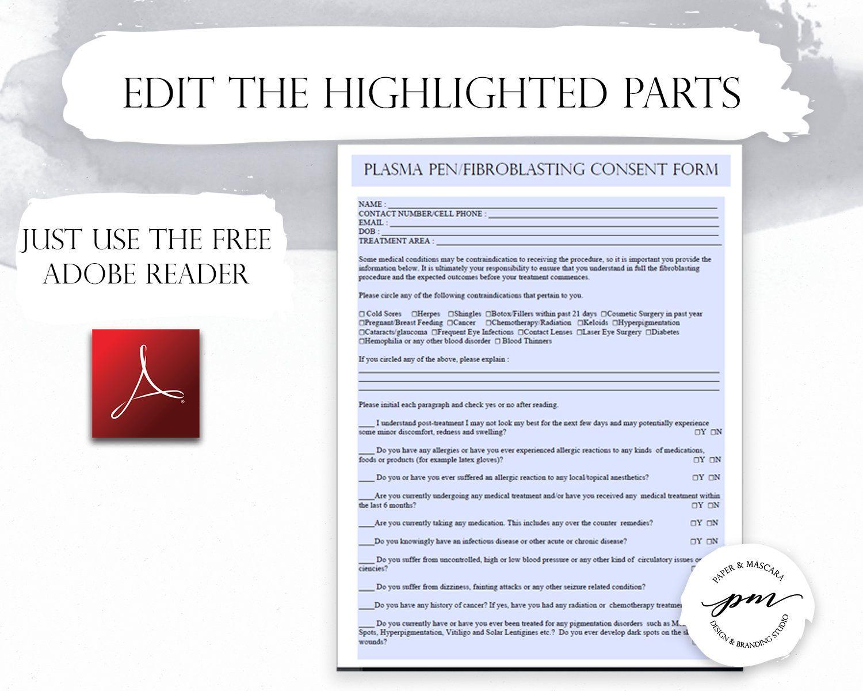 Fibroblast Client Forms Fibroblast Consent Form Plasma Pen Pre And Post Care Instructions Editable Pdf Trong 2020
