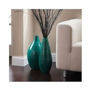 Rounded Bamboo Floor Vase Elegant Expressions Hosley Teal Asian