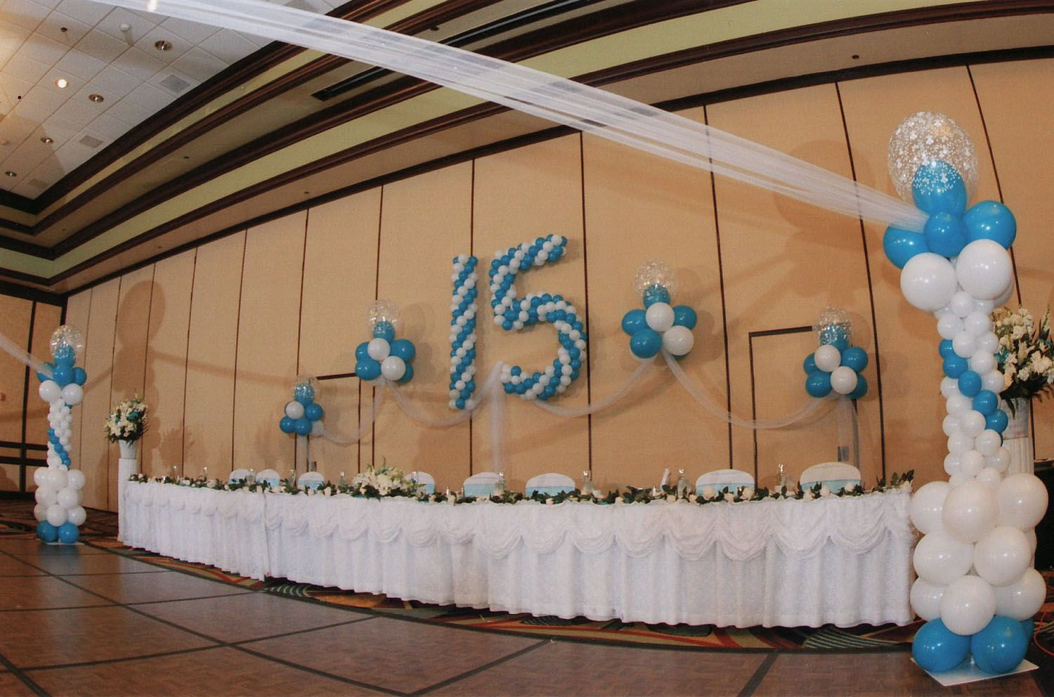 Quinceanera balloon decorations blue balloon arch for Balloon decoration ideas for quinceaneras