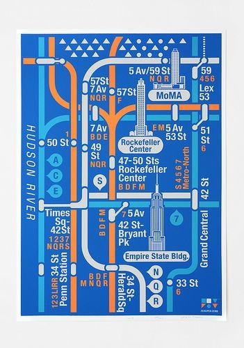 Bdfm Subway Map.Silk Screen Poster Manhattan Nyc The Big Apple Map Design