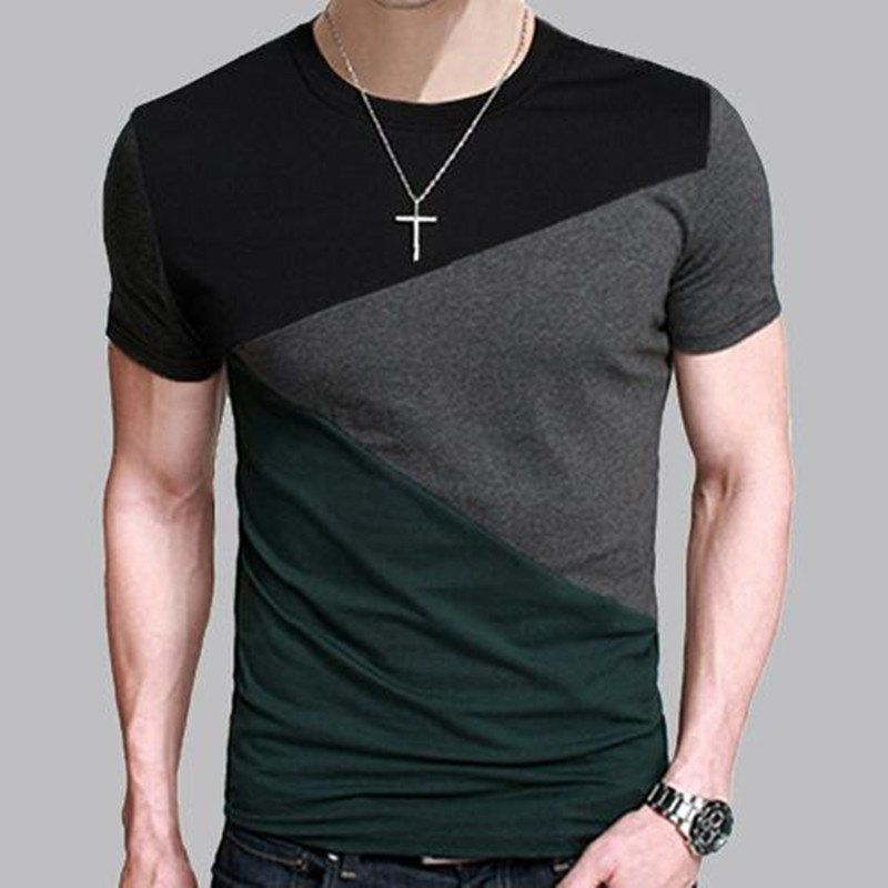 Mens T Shirt Slim Fit Crew Neck T-shirt Men Short Sleeve Shirt ...