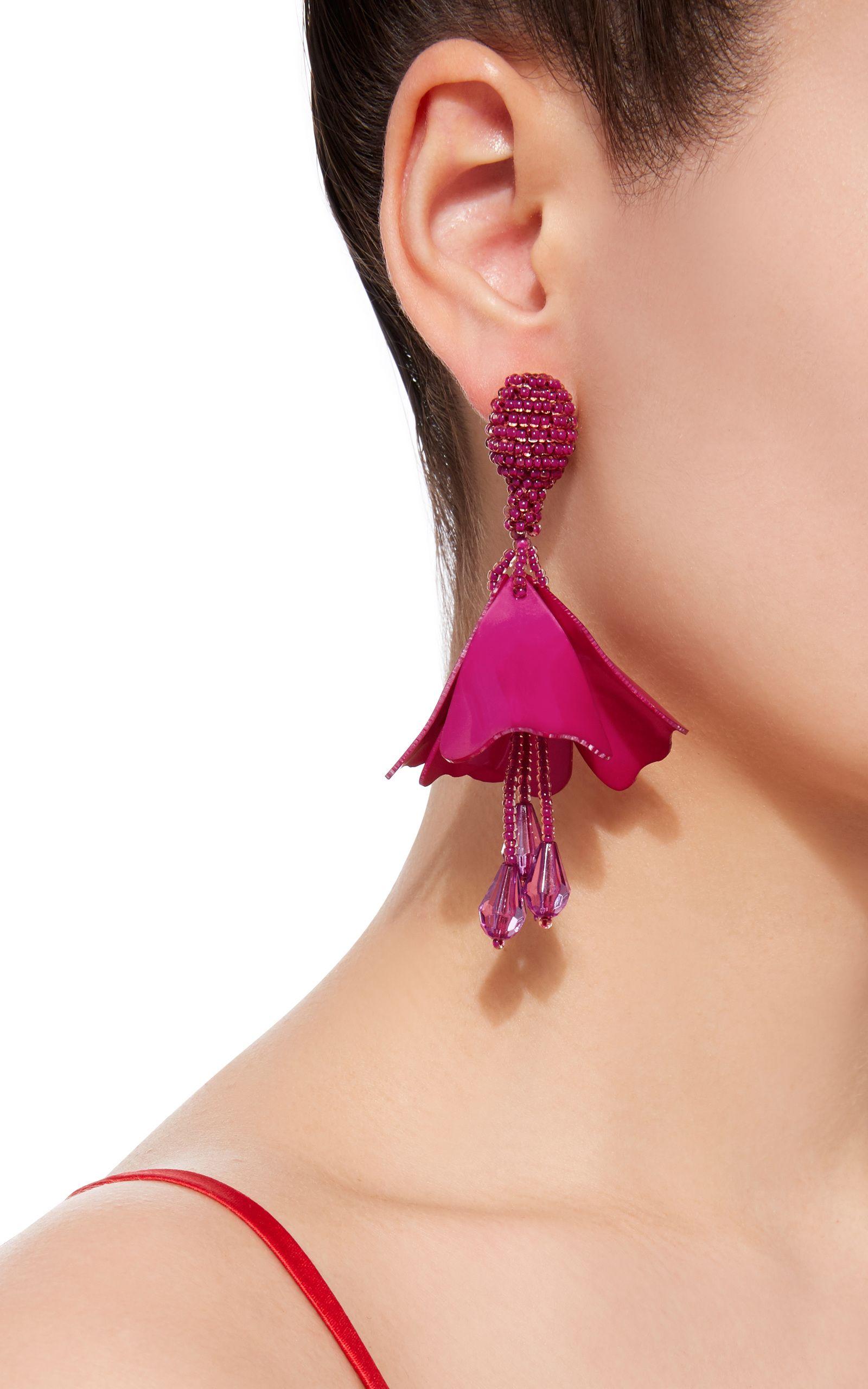 Oscar De La Renta Small Impatiens Flower Drop Earrings jQpk7fei2h