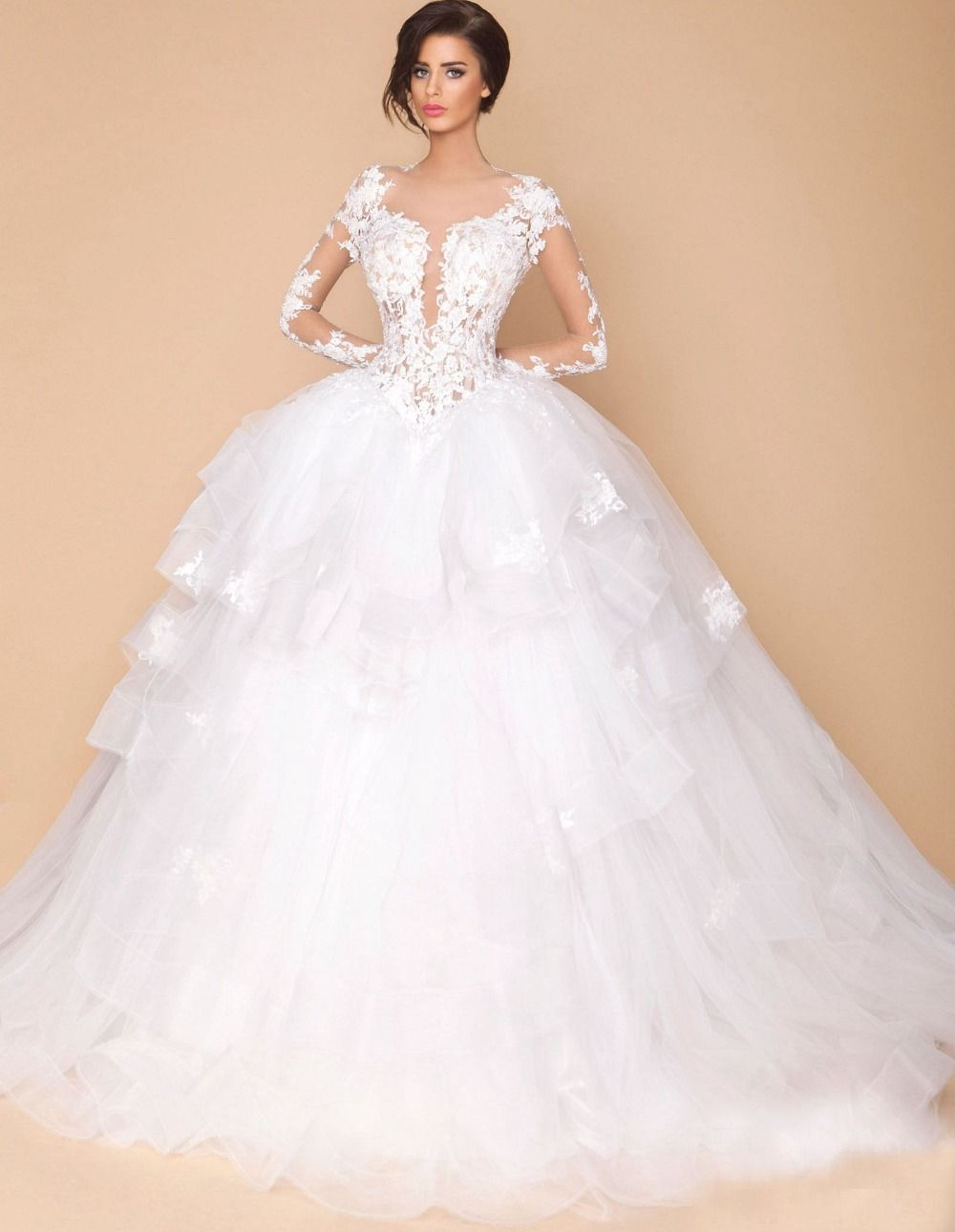 Find More Wedding Dresses Information about Lace Long Sleeve Wedding Dresses Ball Gown Scoop Neck Applique White Tulle Sheer Wedding Gowns Bride Dresses Casamento ,High Quality dress kitten,China gown shawl Suppliers, Cheap dress veil from xlbutterfly on Aliexpress.com