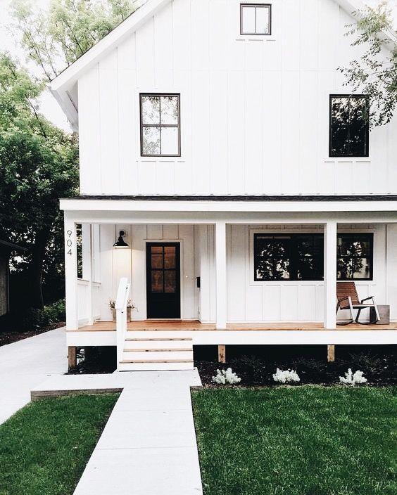 Home Exterior Farmhouse Design Ideas: White House Black Windows