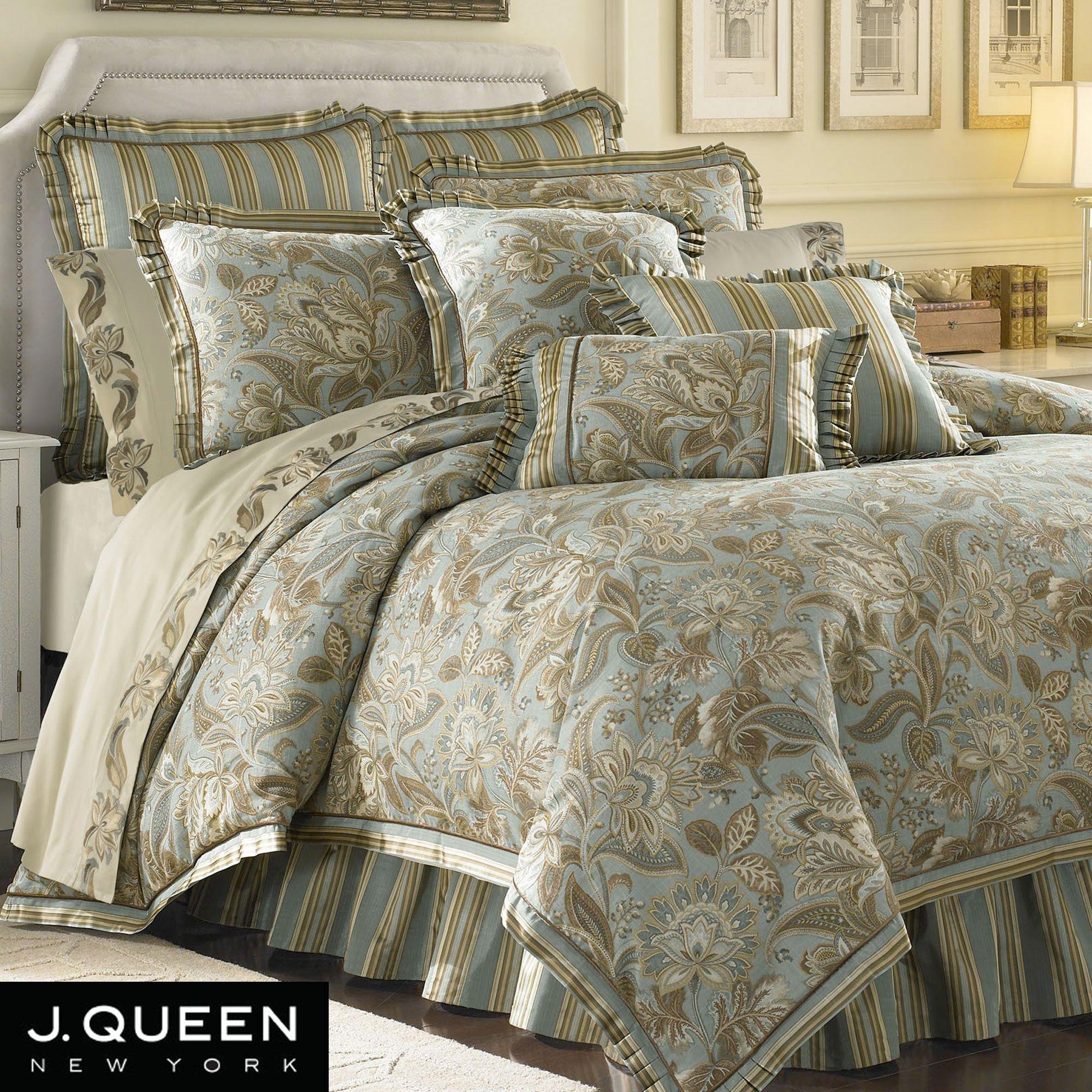 Camilla Jacobean Comforter Bedding By J Queen New York Beddings Aqua Comforter