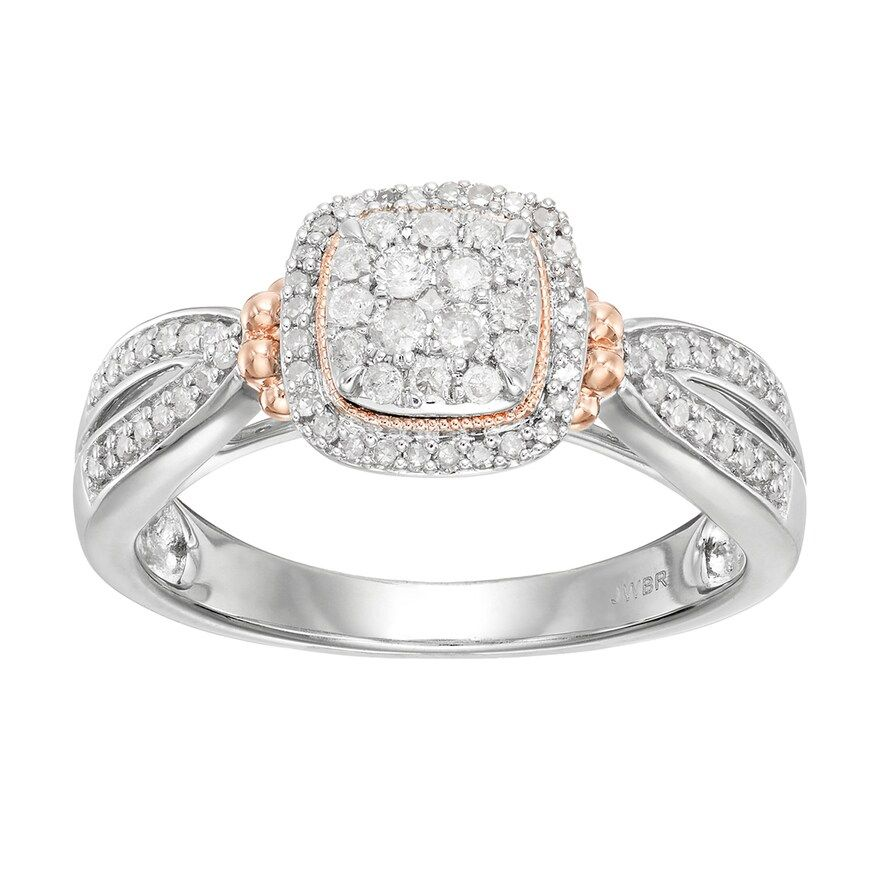 Always Yours Two Tone Sterling Silver 1 3 Carat T W Diamond Cushion Halo Engage Cushion Halo Engagement Two Tone Engagement Rings Cushion Halo Engagement Ring