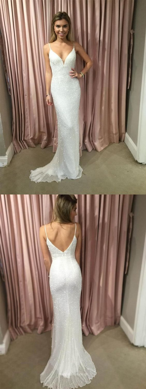 Mermaid spaghetti straps backless prom dress with beading