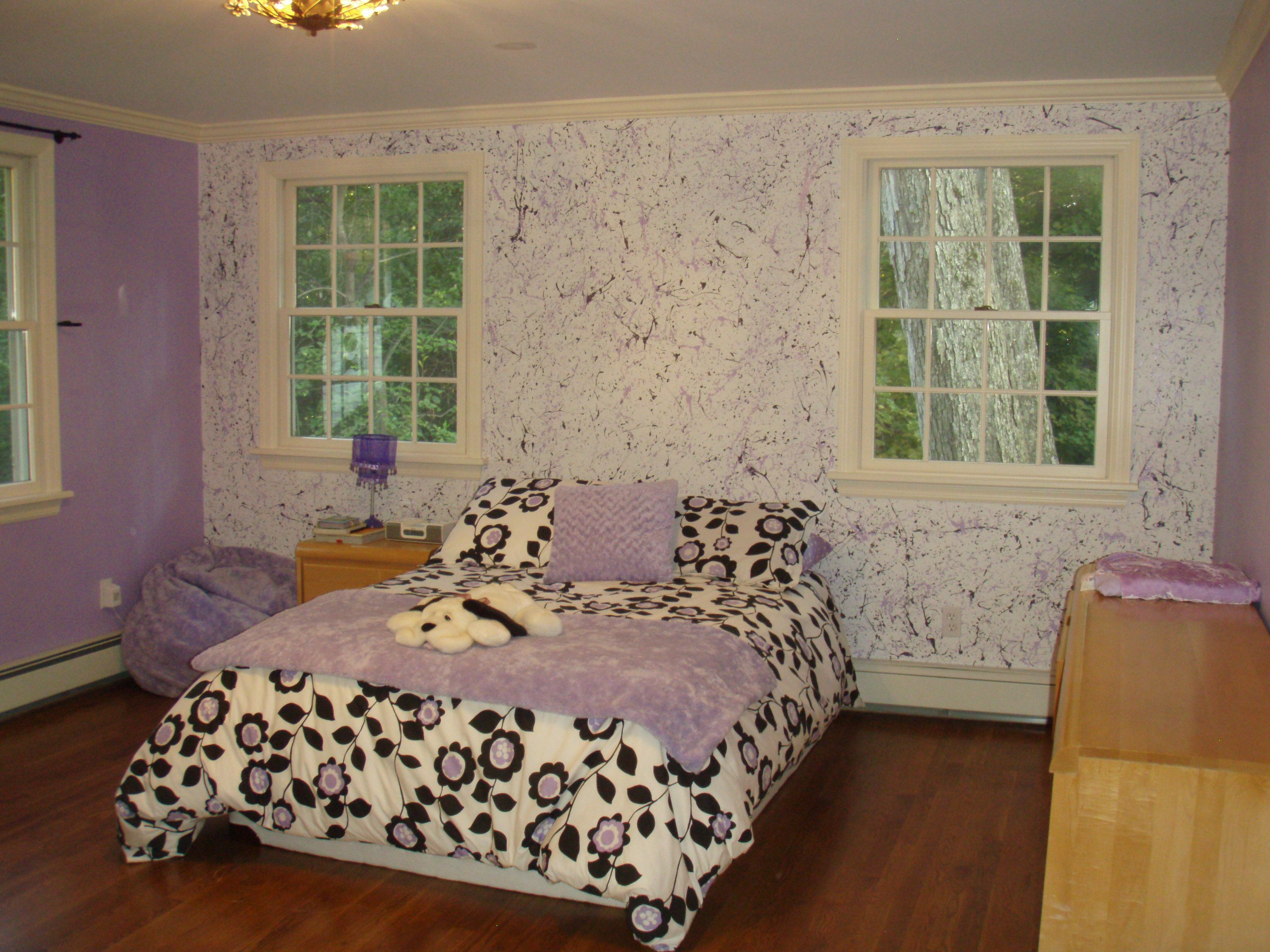 Painting Bedroom Splatter Walls In My Daughters Room Painted The Walls White Then