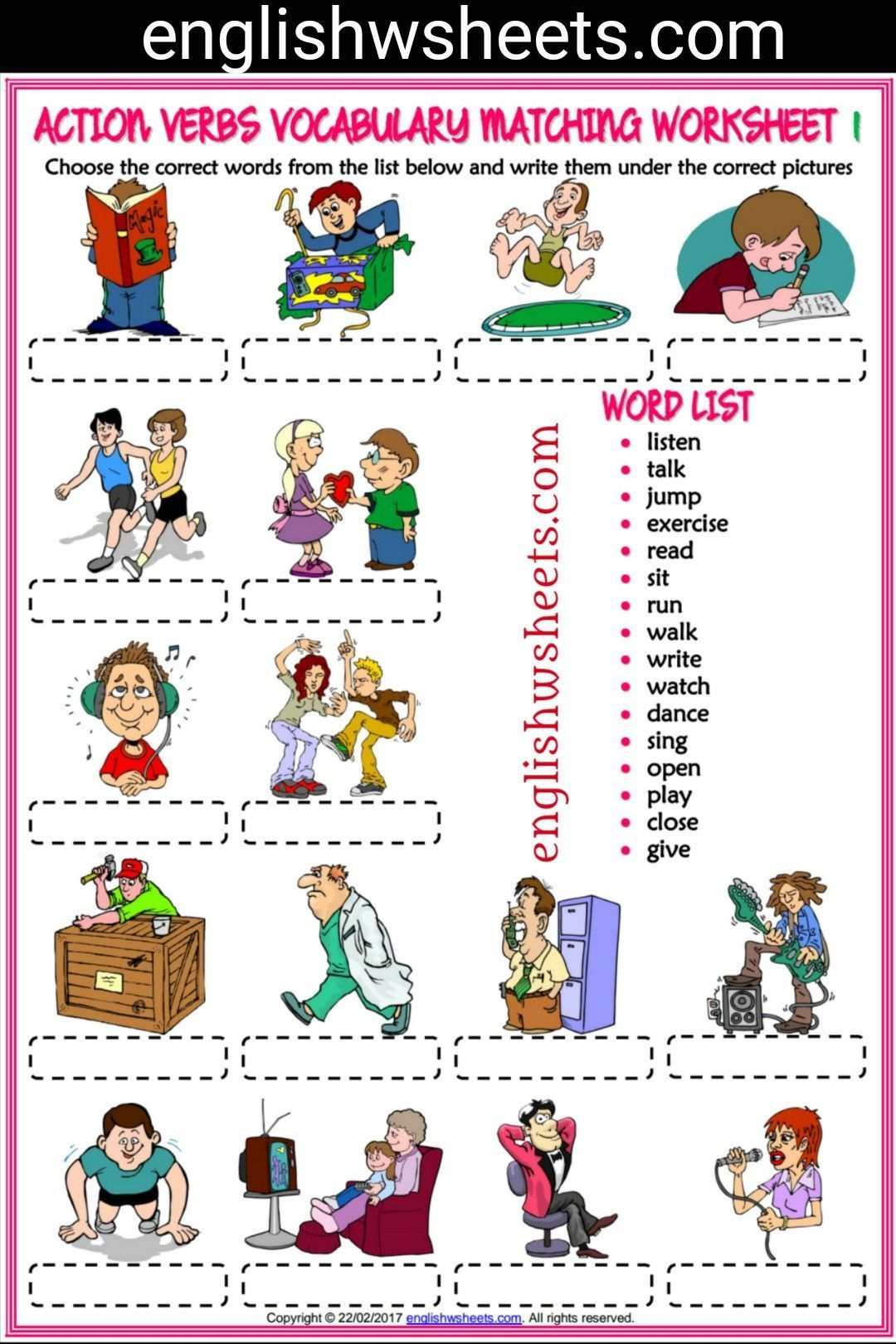 Action Verbs Esl Printable Matching Exercise Worksheets For Kids Action Verbs Actionverbs