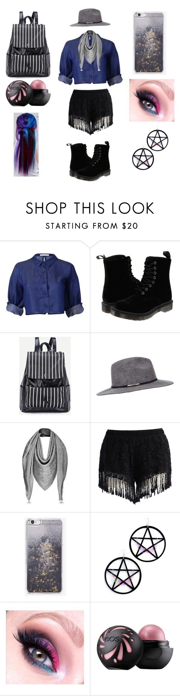 """First day of senior year"" by fabulantastic ❤ liked on Polyvore featuring Dr. Martens, Miss Selfridge, Chicwish, Skinnydip, Marina Fini and Manic Panic NYC"