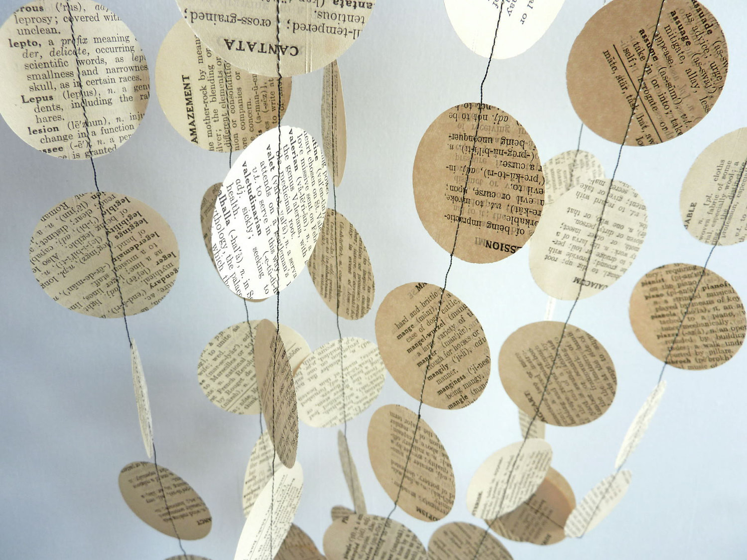 Antique Paper Garland, Dictionary, 88th BIRTHDAY, Birthday, Anniversary, Retirement, Librarian, Wedding, Party Decorations, 10' long. $10.00, via Etsy.