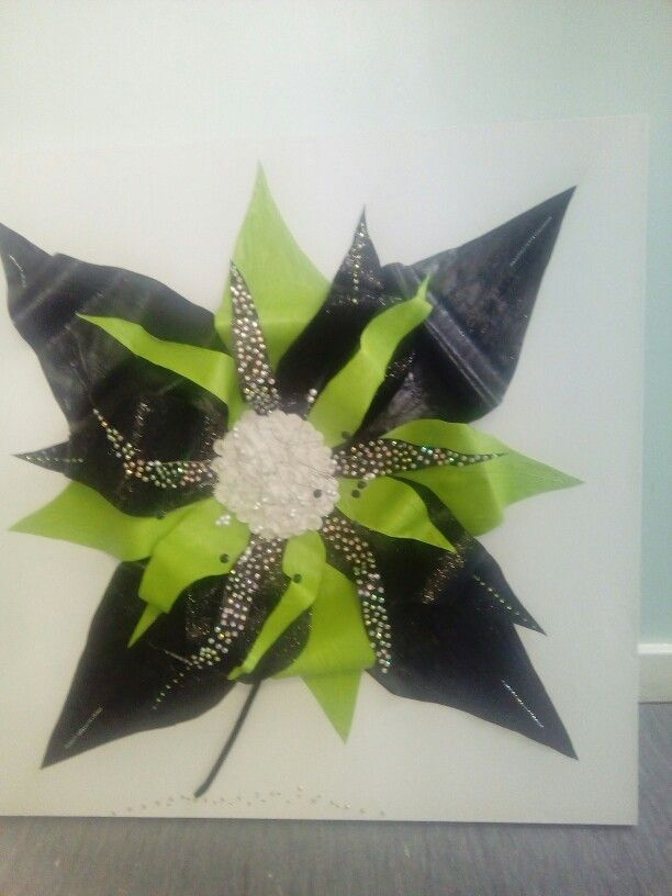 Bling flower 3D black and green