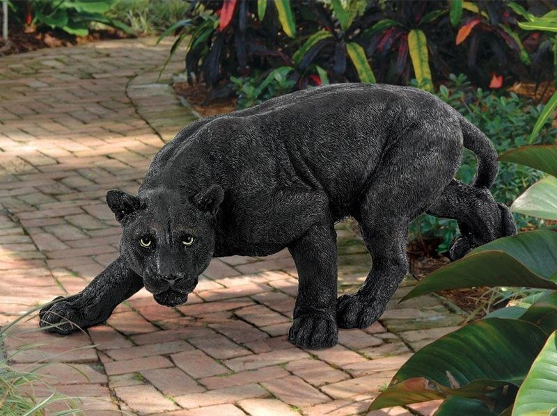 Lawn Garden Decorations Animal Statue Black Panther Figure
