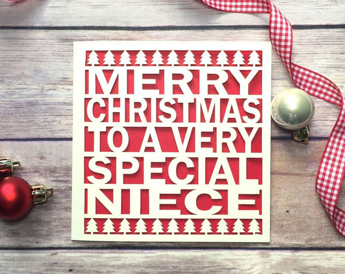 Merry Christmas Niece.Niece Christmas Card Papercut Christmas Card Christmas