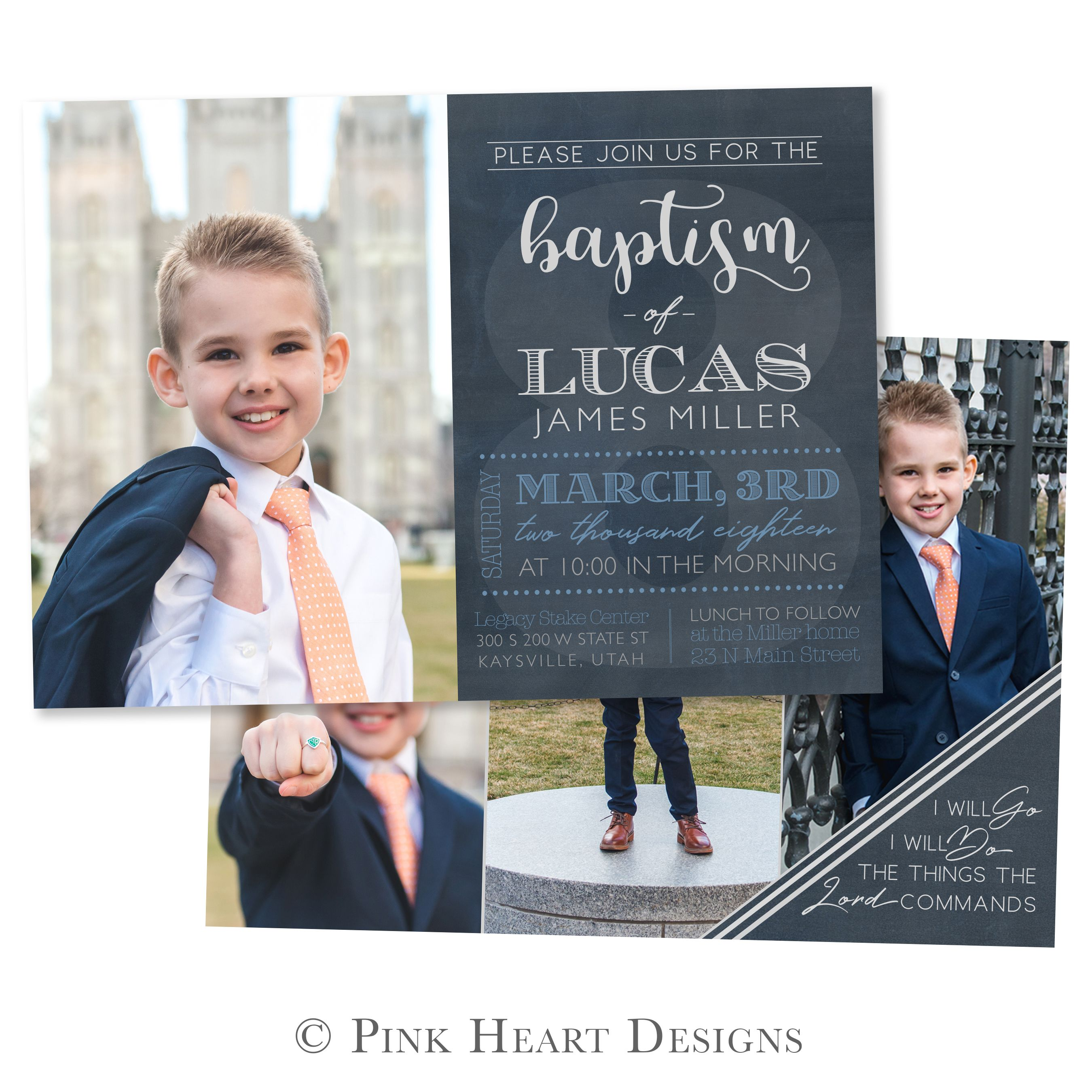 Elegant LDS Baptism Announcement | I Will GO, I Will DO LDS Boy Baptism Invite  Template