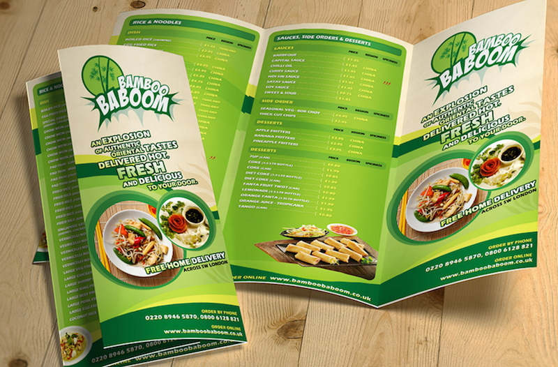 TriFold Restaurant Food Menu Template Free Psd  Diseo