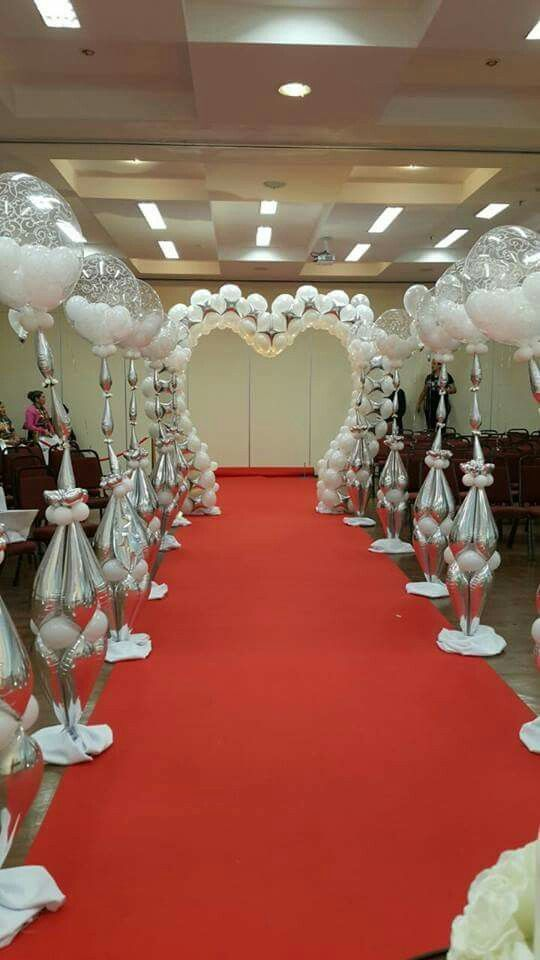 Elegant Balloon Decoration In White And Silver Wedding