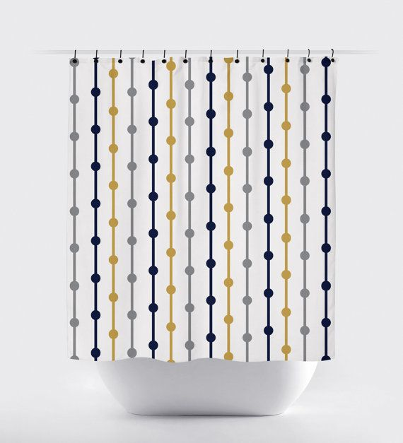 Mustard, blue, grey and white fabric shower curtain, high quality ...