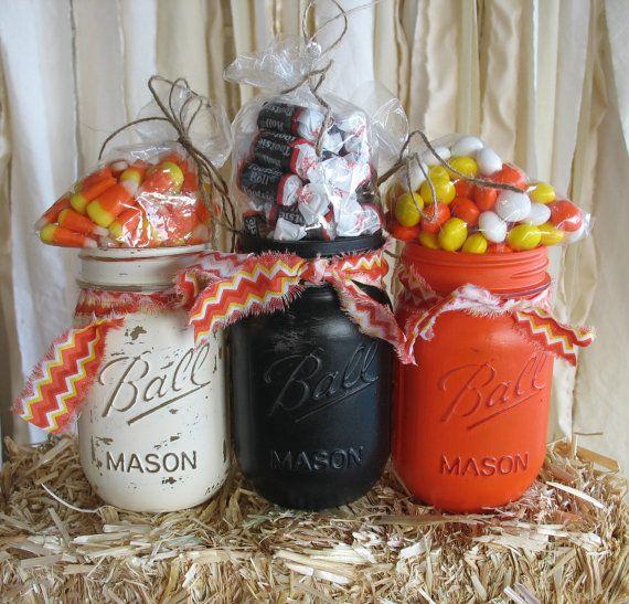 Mason Jars, Decorative Mason Jars, Orange Black and White Mason Jars - where can i buy cheap halloween decorations