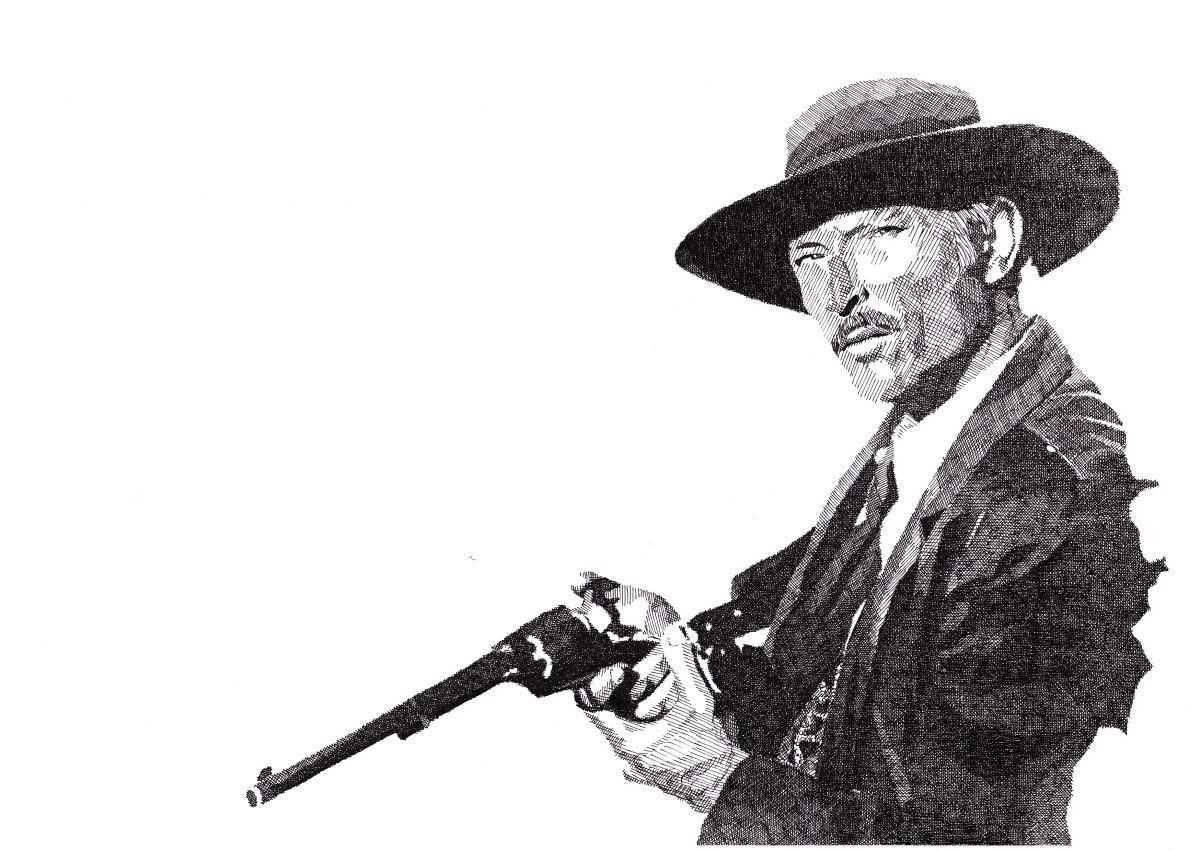 Drawing of Lee Van Cleefin Per Qualche Dollaro In Più (For a Few Dollars More) by Rik Reimert