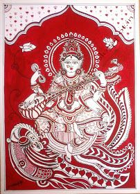 Traditional Indian Paintings: Saraswati - Kalamkari Painting